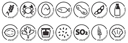 Instructiebord allergenen iconen
